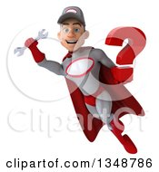Clipart Of A 3d Young White Male Super Hero Mechanic In Gray And Red Holding A Question Mark And Flying Royalty Free Illustration