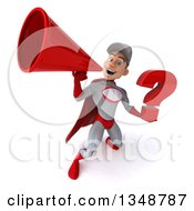 Clipart Of A 3d Young White Male Super Hero Mechanic In Gray And Red Holding A Question Mark And Using A Megaphone Royalty Free Illustration