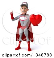 Clipart Of A 3d Young White Male Super Hero Mechanic In Gray And Red Holding Up A Finger And A Love Heart Royalty Free Illustration
