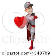 Clipart Of A 3d Full Length Young White Male Super Hero Mechanic In Gray And Red Holding A Love Heart Around A Sign Royalty Free Illustration