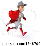 Clipart Of A 3d Young White Male Super Hero Mechanic In Gray And Red Holding A Love Heart And Sprinting To The Right Royalty Free Illustration by Julos