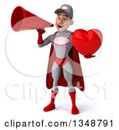 Clipart Of A 3d Young White Male Super Hero Mechanic In Gray And Red Holding A Love Heart And Using A Megaphone Royalty Free Illustration by Julos