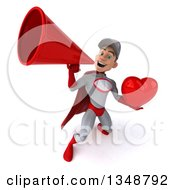 Clipart Of A 3d Young White Male Super Hero Mechanic In Gray And Red Holding A Love Heart And Using A Megaphone Royalty Free Illustration
