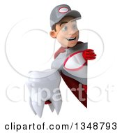 Clipart Of A 3d Young White Male Super Hero Mechanic In Gray And Red Holding A Tooth Around A Sign Royalty Free Illustration by Julos