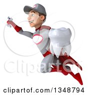 Clipart Of A 3d Young White Male Super Hero Mechanic In Gray And Red Holding A Tooth And Flying Royalty Free Illustration by Julos