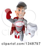 Clipart Of A 3d Young White Male Super Hero Mechanic In Gray And Red Holding A Tooth And Flying Royalty Free Illustration