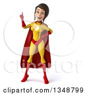 Clipart Of A 3d Brunette White Female Super Hero In A Yellow And Red Suit Holding Up A Finger Royalty Free Illustration by Julos