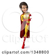 Clipart Of A 3d Full Length Brunette White Female Super Hero In A Yellow And Red Suit Pointing Around A Sign Royalty Free Illustration