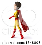 Clipart Of A 3d Brunette White Female Super Hero In A Yellow And Red Suit Walking To The Left Royalty Free Illustration