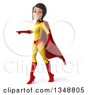Clipart Of A 3d Brunette White Female Super Hero In A Yellow And Red Suit Pointing To The Left Royalty Free Illustration