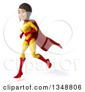 Clipart Of A 3d Brunette White Female Super Hero In A Yellow And Red Suit Running To The Left Royalty Free Illustration