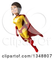 Clipart Of A 3d Brunette White Female Super Hero In A Yellow And Red Suit Flying Royalty Free Illustration