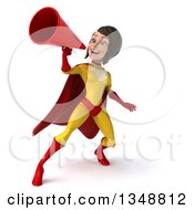 Clipart Of A 3d Brunette White Female Super Hero In A Yellow And Red Suit Using A Megaphone Royalty Free Illustration by Julos