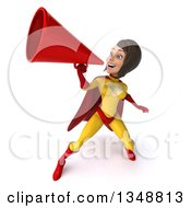Clipart Of A 3d Brunette White Female Super Hero In A Yellow And Red Suit Using A Megaphone Royalty Free Illustration