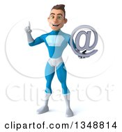Clipart Of A 3d Young White Male Super Hero In A Light Blue Suit Holding Up A Finger And A Blackberry Royalty Free Illustration by Julos