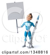 Clipart Of A 3d Young White Male Super Hero In A Light Blue Suit Standing With A Giant Vaccine Syringe And Blank Sign Royalty Free Illustration by Julos