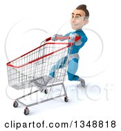 Clipart Of A 3d Young White Male Super Hero In A Light Blue Suit Speed Walking To The Left With A Shopping Cart Royalty Free Illustration by Julos