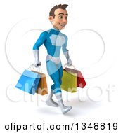 Clipart Of A 3d Young White Male Super Hero In A Light Blue Suit Holding Shopping Bags And Walking To The Right Royalty Free Illustration by Julos