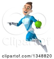 Clipart Of A 3d Young White Male Super Hero In A Light Blue Suit Holding A Green Apple Pointing And Flying Royalty Free Illustration by Julos
