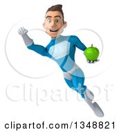 Clipart Of A 3d Young White Male Super Hero In A Light Blue Suit Holding A Green Apple And Flying Royalty Free Illustration by Julos