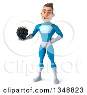 Clipart Of A 3d Young White Male Super Hero In A Light Blue Suit Holding A Blackberry Royalty Free Illustration by Julos