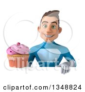 Clipart Of A 3d Young White Male Super Hero In A Light Blue Suit Holding A Cupcake Over A Sign Royalty Free Illustration by Julos