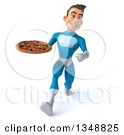 Clipart Of A 3d Young White Male Super Hero In A Light Blue Suit Holding A Pizza And Speed Walking Royalty Free Illustration