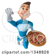 Clipart Of A 3d Young White Male Super Hero In A Light Blue Suit Holding A Pizza And Flying Royalty Free Illustration by Julos