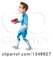 Clipart Of A 3d Young White Male Super Hero In A Light Blue Suit Holding A Beef Steak And Walking To The Left Royalty Free Illustration by Julos