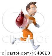 Clipart Of A 3d Young Brunette White Male Super Hero In An Orange Suit Holding A Blood Drop And Sprinting To The Right Royalty Free Illustration by Julos