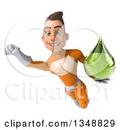 Clipart Of A 3d Young Brunette White Male Super Hero In An Orange Suit Holding A Green Tincture Drop And Flying Royalty Free Illustration by Julos