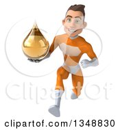 Clipart Of A 3d Young Brunette White Male Super Hero In An Orange Suit Holding An Amber Medicine Tincture Droplet And Sprinting Royalty Free Illustration