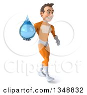 Clipart Of A 3d Young Brunette White Male Super Hero In An Orange Suit Holding A Water Drop And Walking To The Right Royalty Free Illustration by Julos