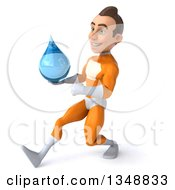 Clipart Of A 3d Young Brunette White Male Super Hero In An Orange Suit Holding A Water Drop And Speed Walking To The Left Royalty Free Illustration