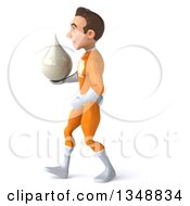 Clipart Of A 3d Young Brunette White Male Super Hero In An Orange Suit Holding A Lotion Milk Or Soap Drop And Walking To The Left Royalty Free Illustration