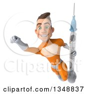 Clipart Of A 3d Young Brunette White Male Super Hero In An Orange Suit Holding A Vaccine Syringe And Flying Royalty Free Illustration