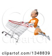 Clipart Of A 3d Young Brunette White Male Super Hero In An Orange Suit Flying With A Shopping Cart Royalty Free Illustration