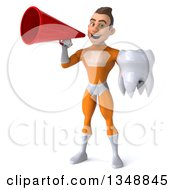 Clipart Of A 3d Young Brunette White Male Super Hero In An Orange Suit Holding A Tooth And Using A Megaphone Royalty Free Illustration by Julos