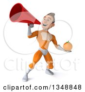 Clipart Of A 3d Young Brunette White Male Super Hero In An Orange Suit Holding A Navel Orange And Using A Megaphone Royalty Free Illustration