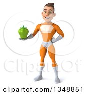 Clipart Of A 3d Young Brunette White Male Super Hero In An Orange Suit Holding A Green Bell Pepper Royalty Free Illustration