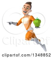 Clipart Of A 3d Young Brunette White Male Super Hero In An Orange Suit Holding A Green Bell Pepper And Flying Royalty Free Illustration by Julos