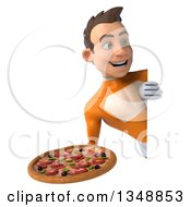 Clipart Of A 3d Young Brunette White Male Super Hero In An Orange Suit Holding A Pizza Around A Sign Royalty Free Illustration