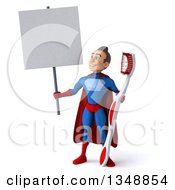 Clipart Of A 3d Young Brunette White Male Super Hero In A Blue And Red Suit Holding A Giant Toothbrush And Blank Sign Royalty Free Illustration
