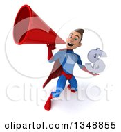 Clipart Of A 3d Young Brunette White Male Super Hero In A Blue And Red Suit Holding A Dollar Symbol And Using A Megaphone Royalty Free Illustration