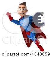 Clipart Of A 3d Young Brunette White Male Super Hero In A Blue And Red Suit Holding A Euro Currency Symbol And Flying Royalty Free Illustration