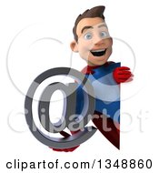 Clipart Of A 3d Young Brunette White Male Super Hero In A Blue And Red Suit Holding An Email Arobase At Symbol Around A Sign Royalty Free Illustration