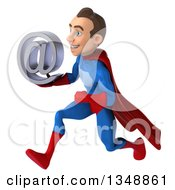 Clipart Of A 3d Young Brunette White Male Super Hero In A Blue And Red Suit Holding An Email Arobase At Symbol And Sprinting To The Left Royalty Free Illustration