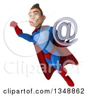 Clipart Of A 3d Young Brunette White Male Super Hero In A Blue And Red Suit Holding An Email Arobase At Symbol And Flying Royalty Free Illustration