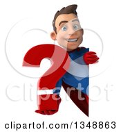 Clipart Of A 3d Young Brunette White Male Super Hero In A Blue And Red Suit Holding A Question Mark Around A Sign Royalty Free Illustration