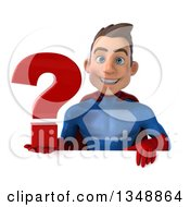 Clipart Of A 3d Young Brunette White Male Super Hero In A Blue And Red Suit Holding A Question Mark Over A Sign Royalty Free Illustration